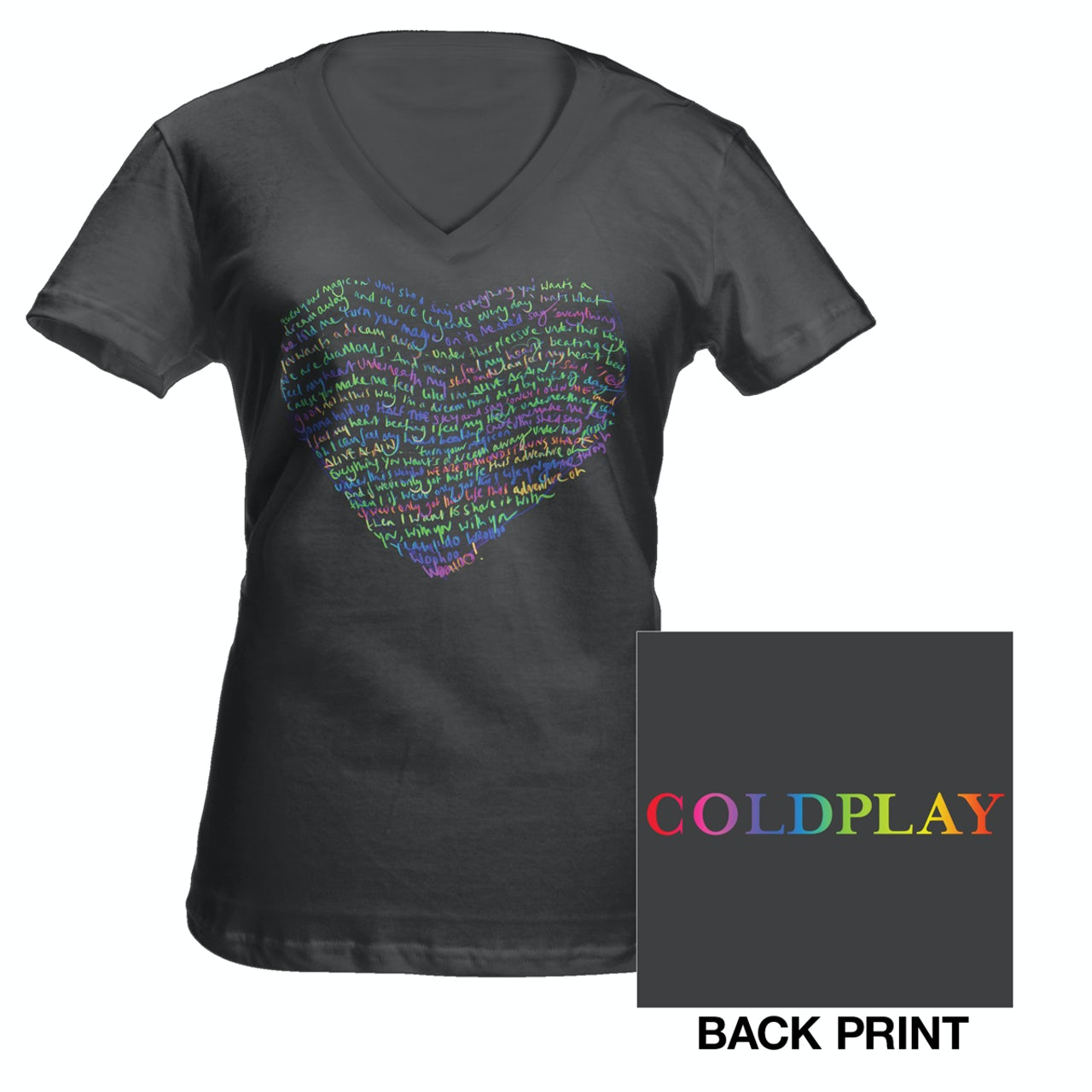 5035f131 Coldplay Lyric Heart Women's T-Shirt*