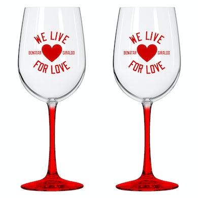 Pat Benatar We Live For Love Wine Glass Set
