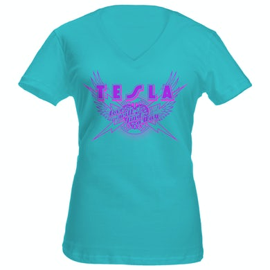 Tesla Love Will Find a Way Ladies V-Neck Tee