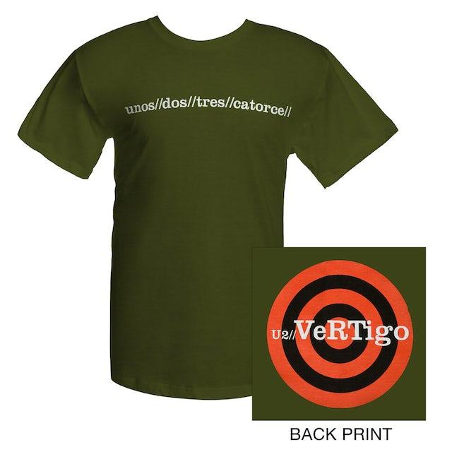 U2 Olive Green Vertigo T-shirt