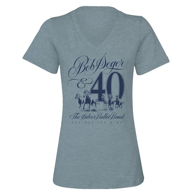 Bob Seger Against The Wind 40th Anniversary Ladies V-Neck Tee