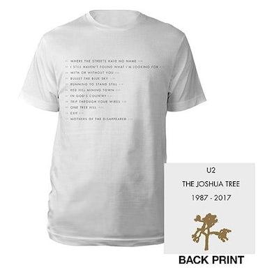 U2 The Joshua Tree Song Titles Men's T-Shirt