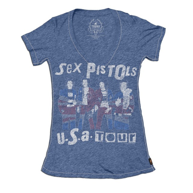 Sex Pistols USA Tour '78 Deep V-neck Burnout T-Shirt