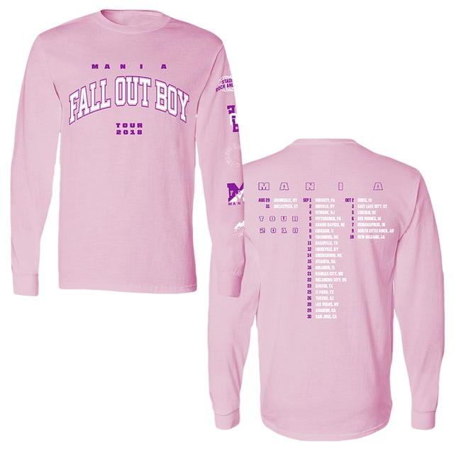 Fall Out Boy 2018 Tour Pink Long Sleeve Tee