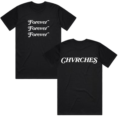 Chvrches Forever Stacked Black Tee