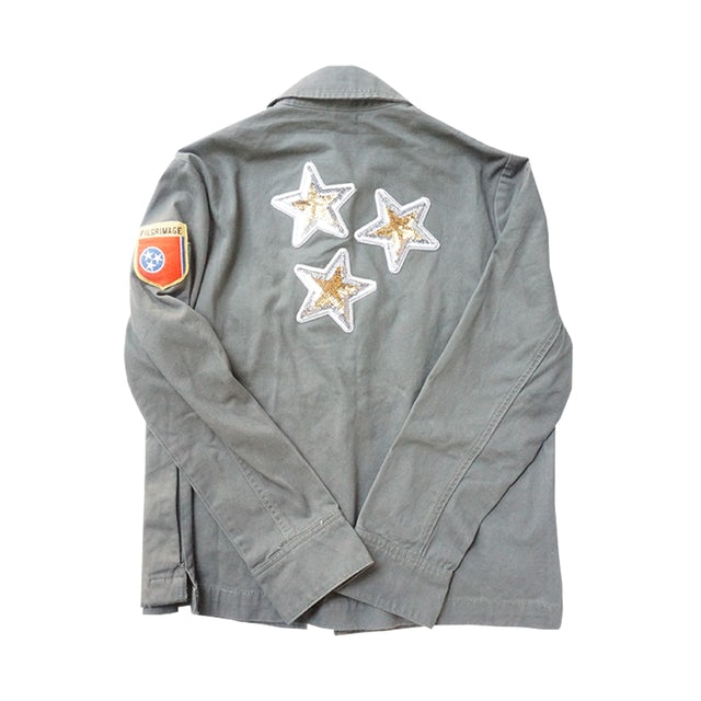 Pilgrimage Festival Military Jacket with Sequin Stars, Patch and Pilgrimage Embroidery