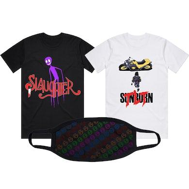 The Living Tombstone Slaughter T Shirt + Sunburn T-Shirt + Skull Face Mask