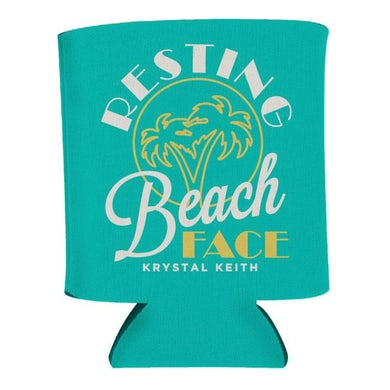 Krystal Keith Resting Beach Face Koozie - Teal