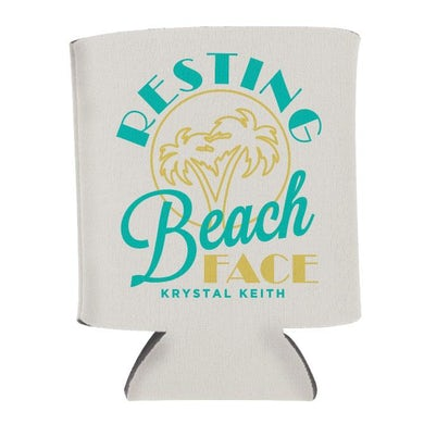 Krystal Keith Resting Beach Face Koozie - White