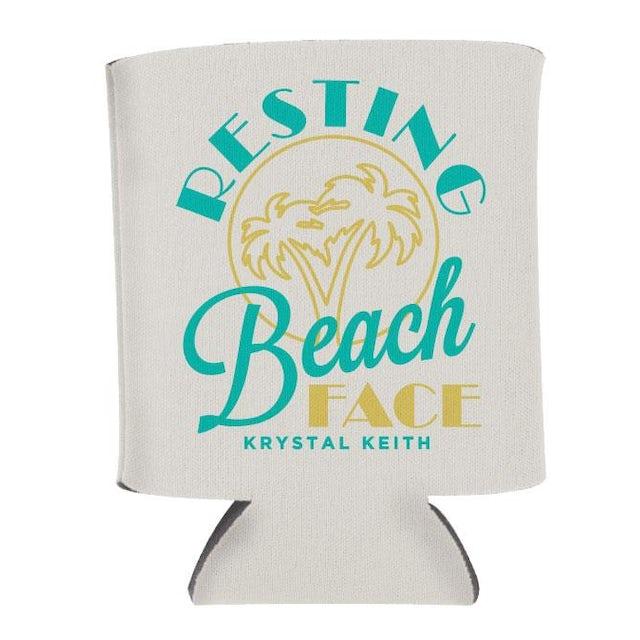 Krystal Keith Resting Beach Face Koozie - White