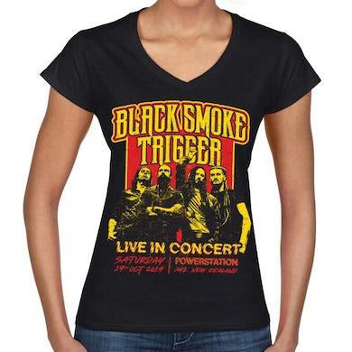 Black Smoke Trigger - Retro Live In Concert Ladies V-Shirt - Red/Yellow