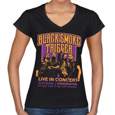 Black Smoke Trigger - Retro Live In Concert Ladies V-Shirt - Purple/Gold
