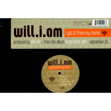 Will.I.Am I GOT IT FROM MY MAMA (X4) Vinyl Record