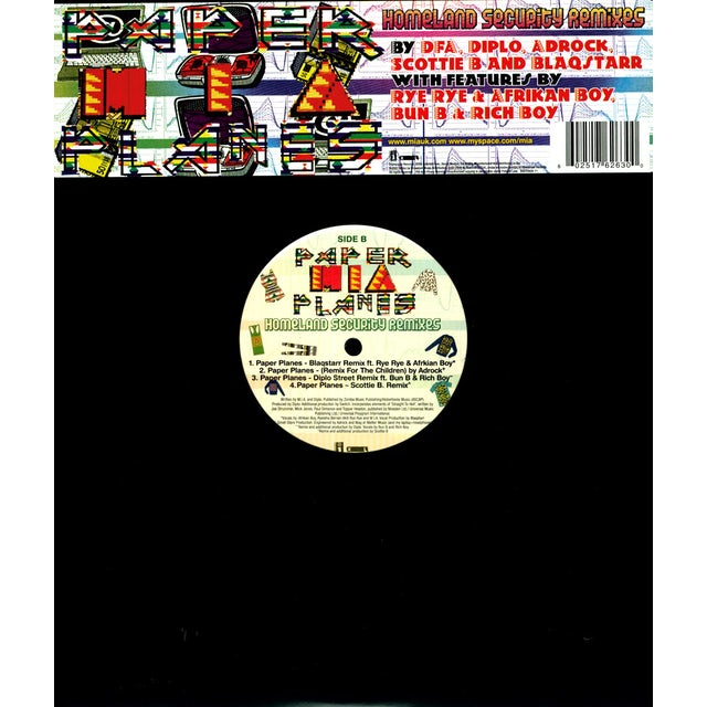 M.I.A PAPER PLANES: HOMELAND SECURITY REMIXES (X8) Vinyl Record