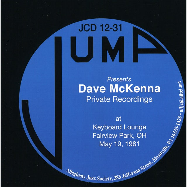 Dave McKenna PRIVATE RECORDINGS: AT KEYBOARD LOUNGE FAIRVIEW CD