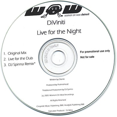 Diviniti LIVE FOR THE NIGHT CD