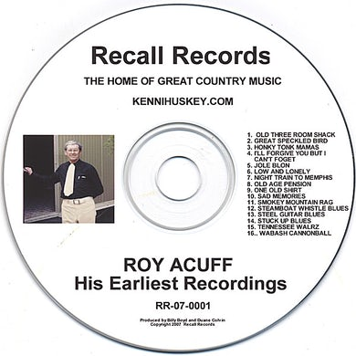 Roy Acuff HIS EARLIEST RECORDINGS CD