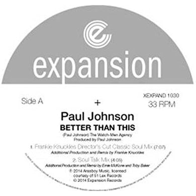 Paul Johnson BETTER THAN THIS Vinyl Record
