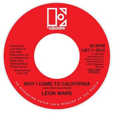 Leon Ware WHY I CAME TO CALIFORNIA / ROCKIN' YOU ETERNALLY Vinyl Record