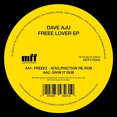 Dave Aju FREEE LOVER Vinyl Record