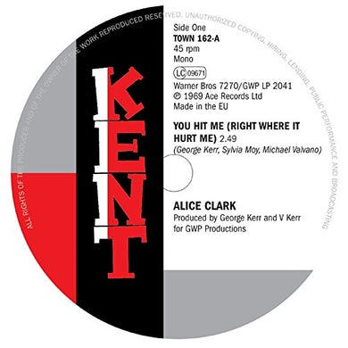 Alice Clark YOU HIT ME (RIGHT WHERE IT HURT ME) / I COULDN'T Vinyl Record