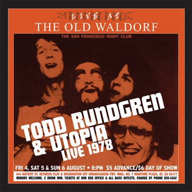 Todd Rundgren LIVE AT THE OLD WALDORF Vinyl Record
