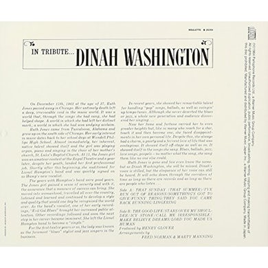 Dinah Washington IN TRIBUTE CD