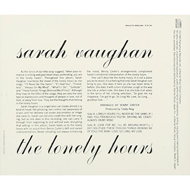 Sarah Vaughan LONELY HOURS CD