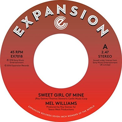 Mel Williams SWEET GIRL OF MINE / TURN ME ON Vinyl Record