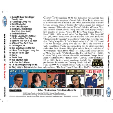 Conway Twitty 20 BEST OF MUST HAVE HITS CD