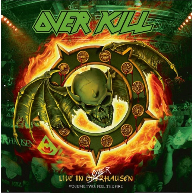 Overkill FEEL THE FIRE - Limited Edition Orange w/ Yellow Splatter Colored Double Vinyl Record