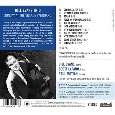 Bill Evans SUNDAY AT THE VILLAGE VANGUARD CD