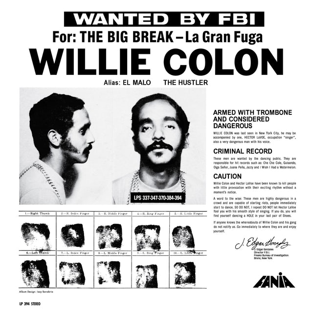 Willie Colon WANTED BY THE FBI / BIG BREAK: GRAN FUGA Vinyl Record