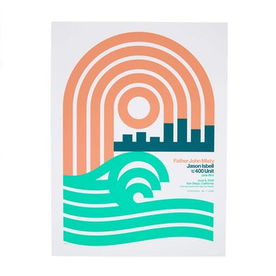 """Father John Misty June 6th 2019 - CalCoast Credit Union Open Air Theatre / San Diego, CA - 18"""" x 24"""" Screen Printed Poster"""