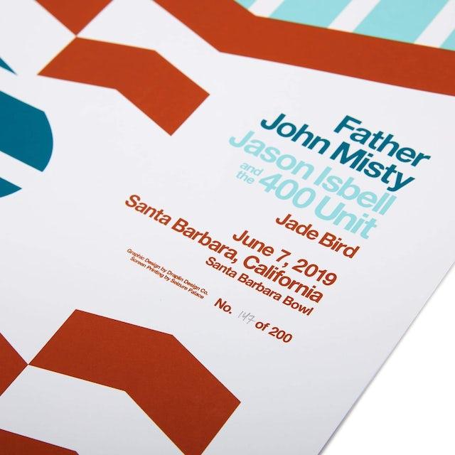 "Father John Misty June 7, 2019 - Santa Barbara Bowl / Santa Barbara, CA - 18"" x 24"" Screen Printed Poster"