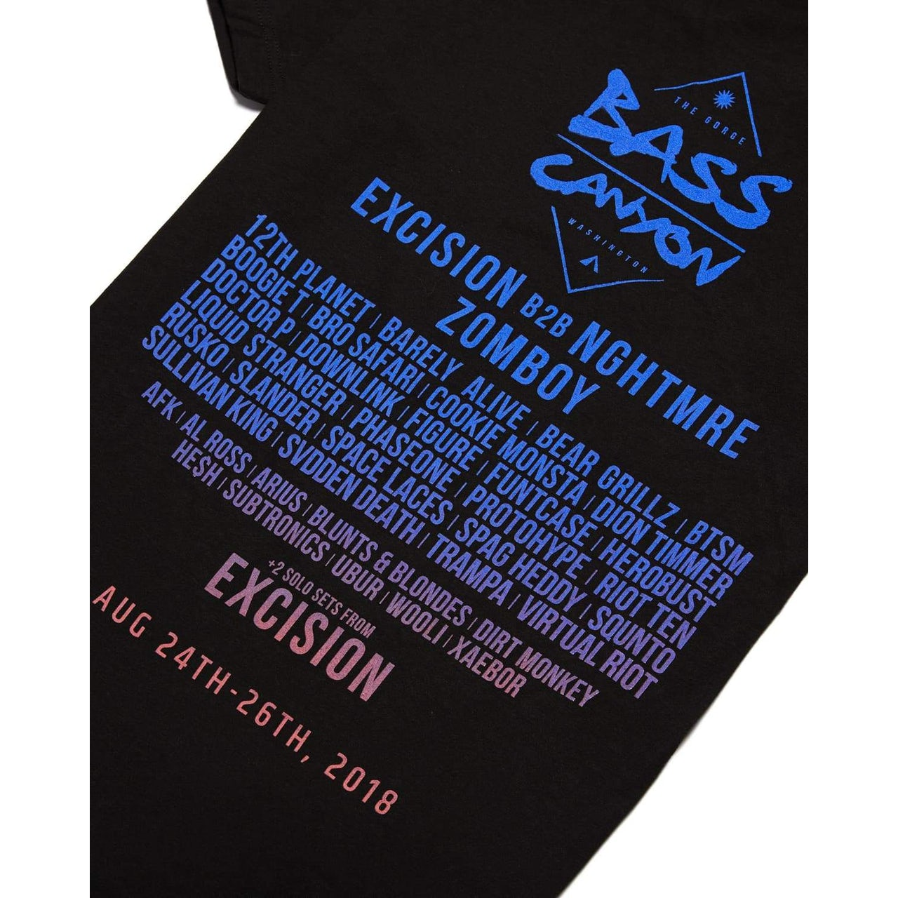 dc8fab626153 Excision Official Bass Canyon 2018 T-Shirt - Black