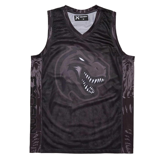 'Excision Rex' Basketball Jersey - Black/Black
