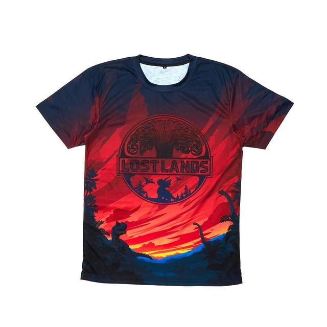 Excision Official Lost Lands 2019 Line Up Dye Sub Tee - Red/Black/Blue