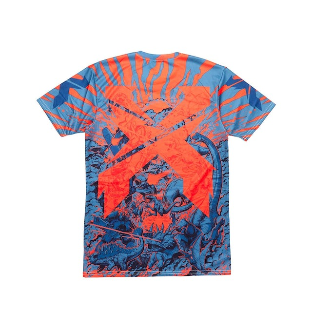 Excision 'Battles' Dye Sub Tee - Red/Grey/Blue