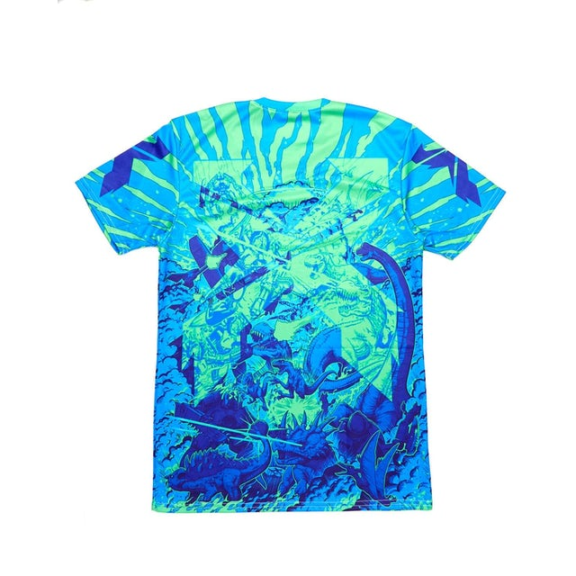Excision 'Battles' Dye Sub Tee - Green/Blue