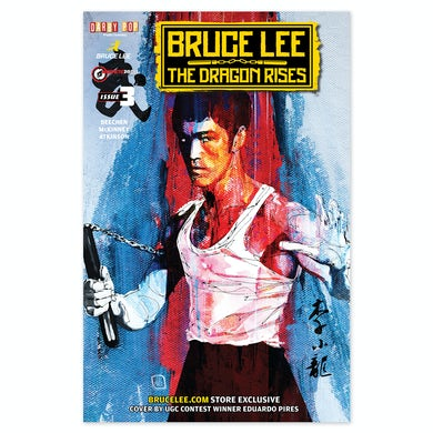 Bruce Lee The Dragon Rises Issue # 3 Signed Cover
