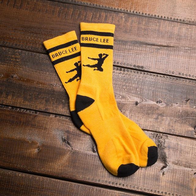 Bruce Lee Flying Man Athletic Socks - Yellow