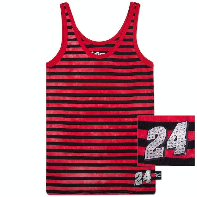 Hendrick Motorsports Jeff Gordon #24 Ladies Striped Rhinestone Tank