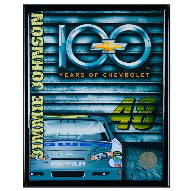 "Hendrick Motorsports Jimmie Johnson Chevy 100 Anniversary 8x10"" Frame Photo"