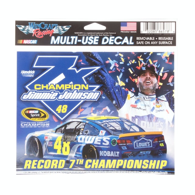 "Hendrick Motorsports Jimmie Johnson 2016 NASCAR Sprint Cup Champion Multi-use Decal 4.5"" X 6"""