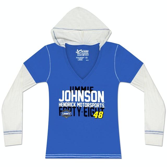 Hendrick Motorsports Jimmie Johnson #48 Ladies Layered Hoodie Tee Blue