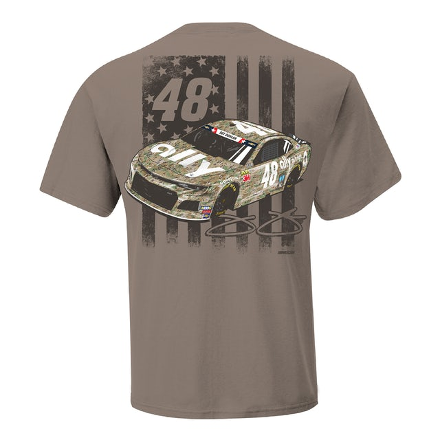 Hendrick Motorsports Jimmie Johnson 2019 NASCAR #48 Brown Patriotic T-shirt