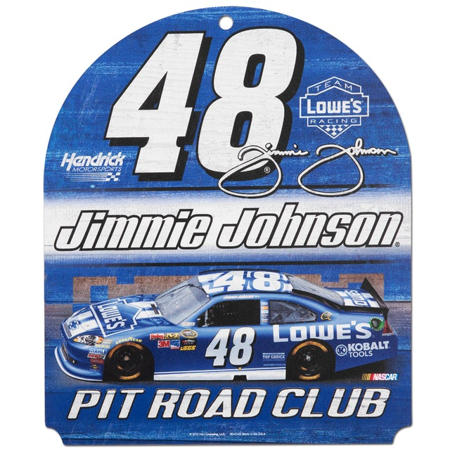 """Jimmie Johnson #48 Lowes  10"""" x 11"""" Wood Club Sign"""