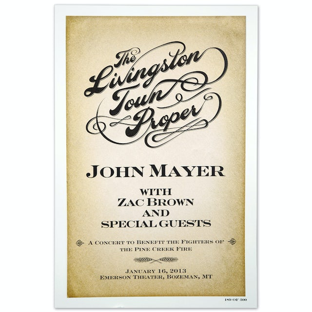 John Mayer The Livingston Town Proper Event Poster