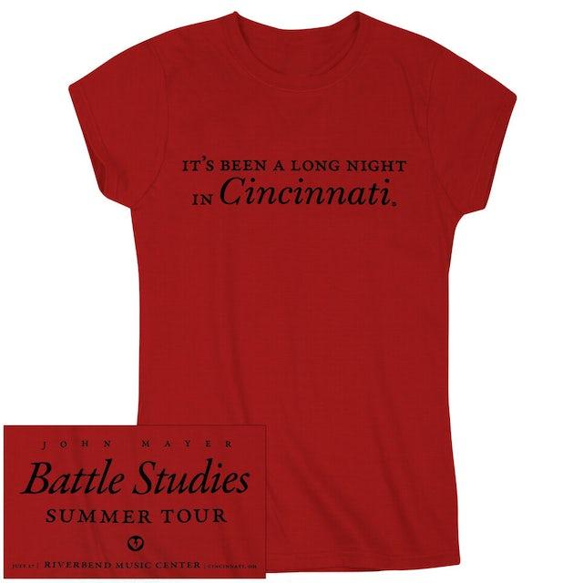 """John Mayer """"It's Been A Long Night In Cincinnati"""" Ladies Tee"""